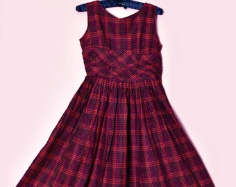 Party Dress 50/'s Red Plaid Cotton Sun Dress Small Purple Full Skirt Fit /& Flare Summer Dress 1950/'s 1940/'s