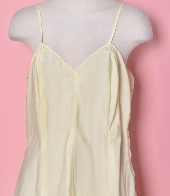 Vintage Yellow Slip Dress, Nylon, Size Medium, 19… - image 3