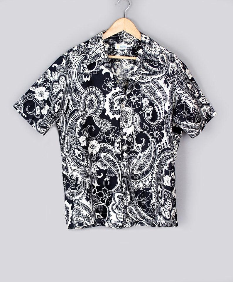 d8d0b1d4 Vintage Mens Hawaiian Print Shirt by ANDRADE Black & White | Etsy