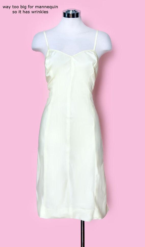 Vintage Yellow Slip Dress, Nylon, Size Medium, 19… - image 2
