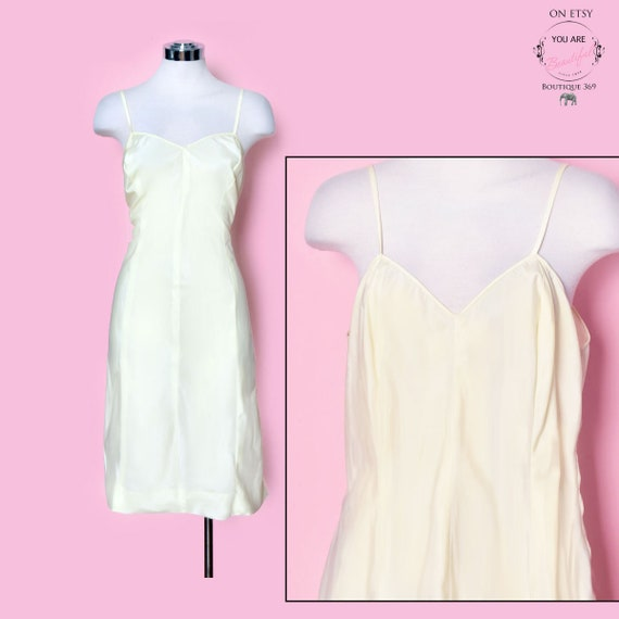 Vintage Yellow Slip Dress, Nylon, Size Medium, 19… - image 1