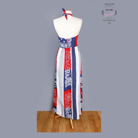 70's Bandana Patchwork Print Long Vintage Dress, … - image 3