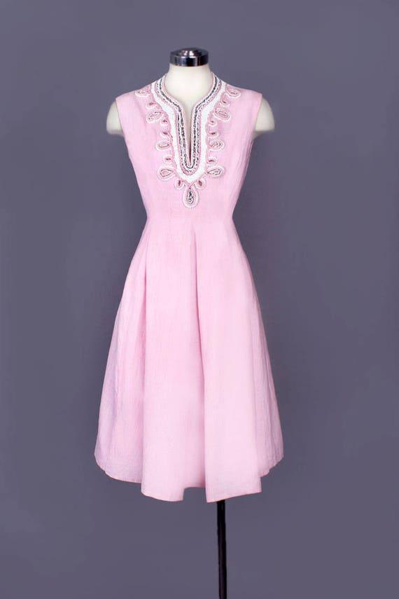 Mid Century SIZE Dress Vintage Designer Heavily Dress Evening Medium Beaded Dress Pink 60's wxRq6YXPF