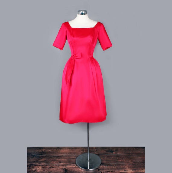 M Cocktail Domb Emma Prom by Dress S 1960's Party Evening Satin Dress Red dress Vintage RYTqz0O