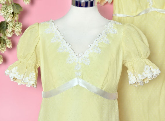 60's Yellow Baby Doll Dress, Vintage Dress, Party… - image 6