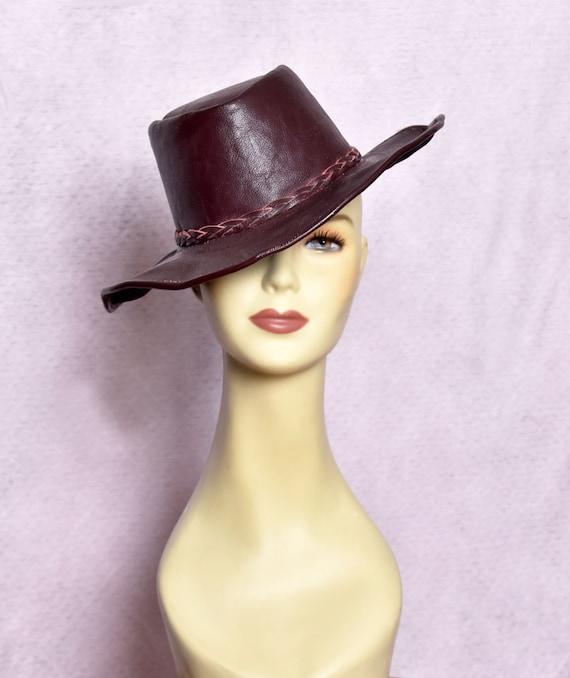 Brown Leather Vintage Fedora Hippie Hat 1960's - 1