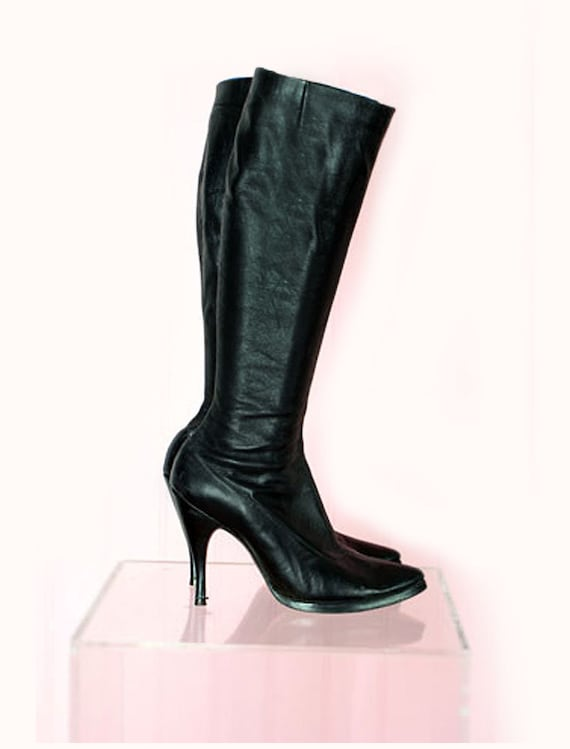 Vintage Black Leather Fetish Boots by Fredericks o