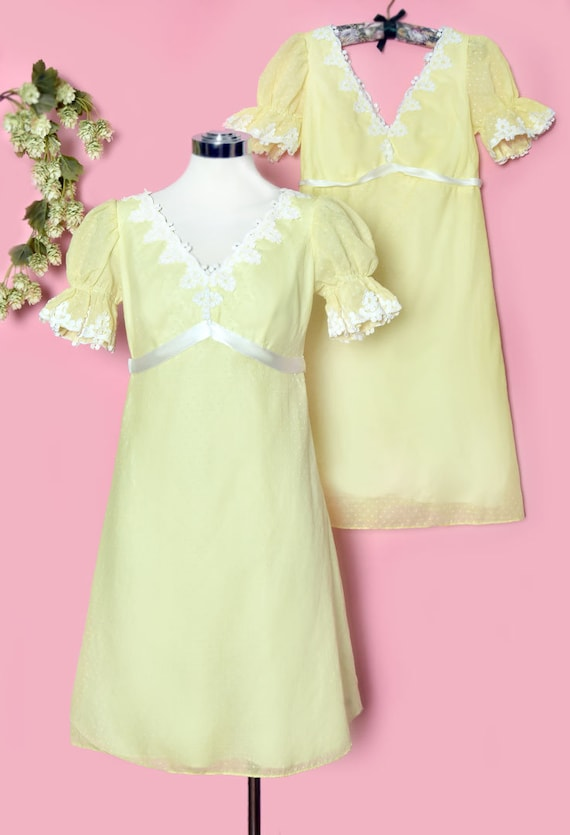 60's Yellow Baby Doll Dress, Vintage Dress, Party… - image 2
