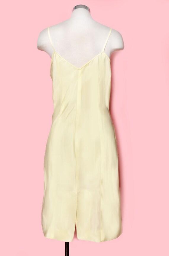 Vintage Yellow Slip Dress, Nylon, Size Medium, 19… - image 4