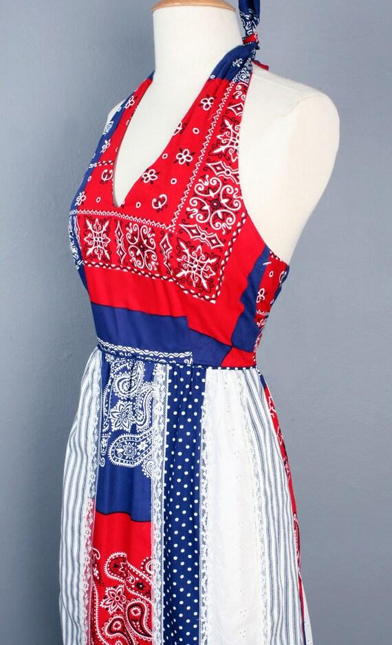 70's Bandana Patchwork Print Long Vintage Dress, … - image 2