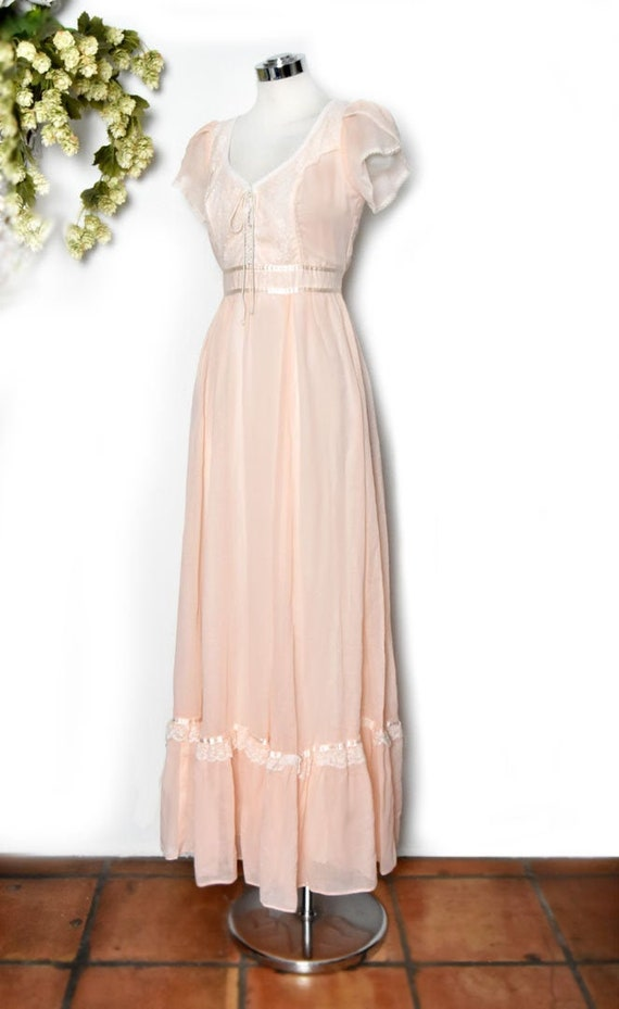 Gunne Sax Long Peach Vintage Dress, Peasant style