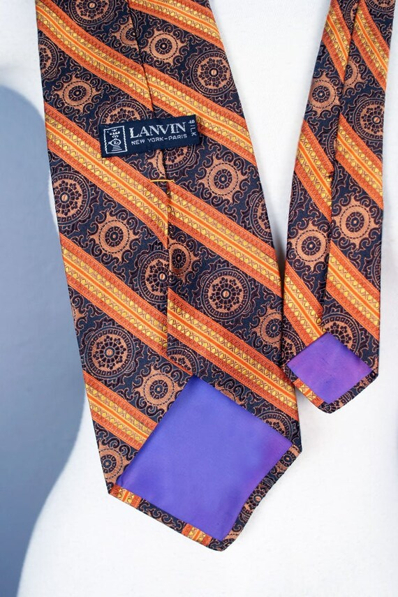Mens 60's LANVIN silk Vintage Designer Neck Tie, M
