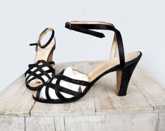 1950's Black Vintage Salvatore Ferragamo -Black Silk High Heel Shoes, Italy, Women's Heels, 50's RARE Designer Stilettos - SIZE: 6