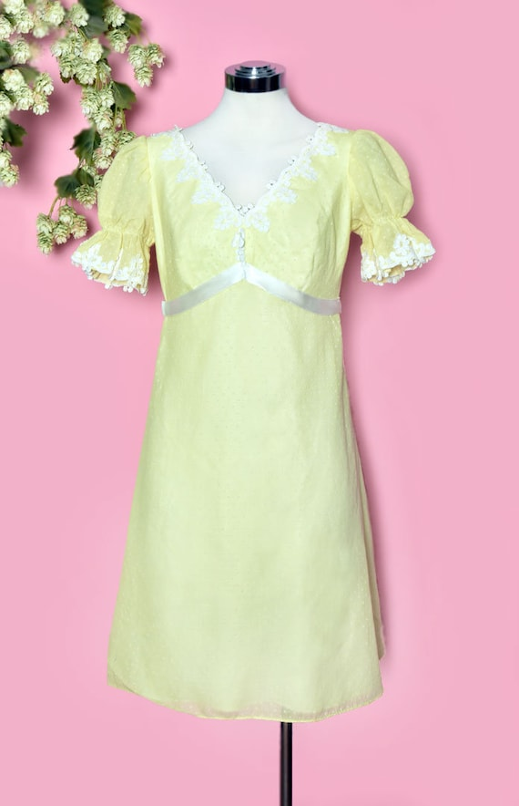 60's Yellow Baby Doll Dress, Vintage Dress, Party… - image 3