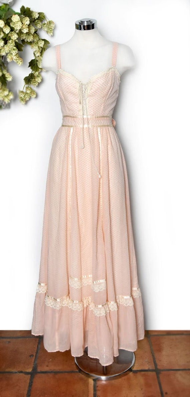 Peach Gunne Sax Long Dress, 1970's Vintage Dress,