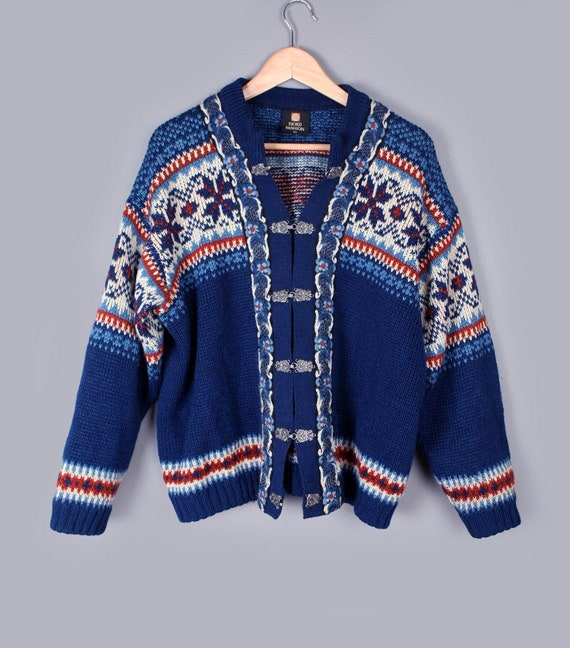 huge selection of d01af 9bf83 Norwegische Wolle Pullover FJORD Norwegen, Zinn Verschluss, Strickjacke  Vintage blau, 48