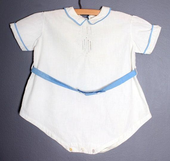 vtg Baby ONESIE Romper, Hand Embroidered, Cotton B