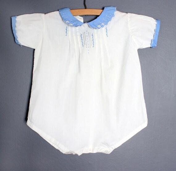 vtg Baby Cotton Onesie Romper Play Suit Blue & Whi