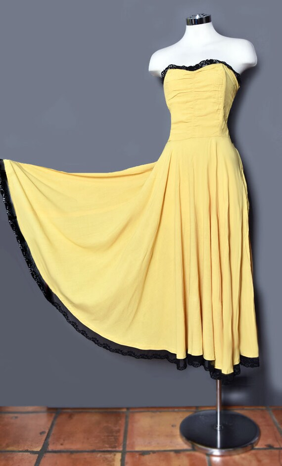 1930's Yellow Strapless Dress, 1940's Vintage Even