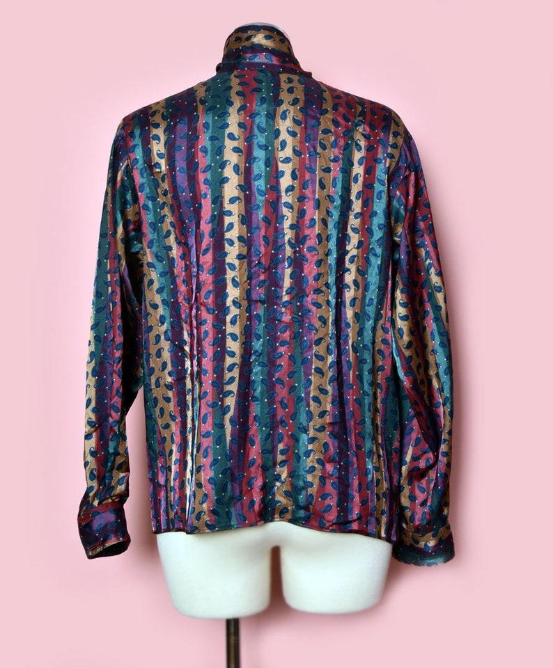 Vintage 1970/'s 1980/'s Evan Picone Designer Neiman Marcus Striped Shirt Secretary Pussycat Bow Blouse