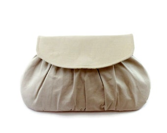 Rustic Wedding Clutch, Linen Purse in tan, Small Handbag, Bridal Accessory