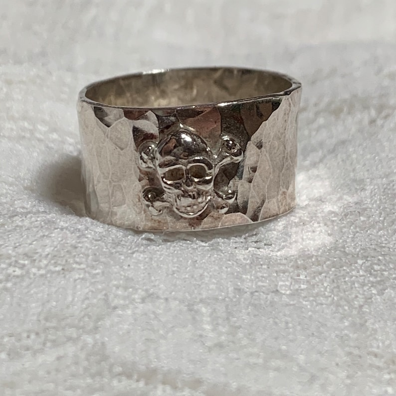 IHMSS sterling silver hammer texture ring band with sterling image 0