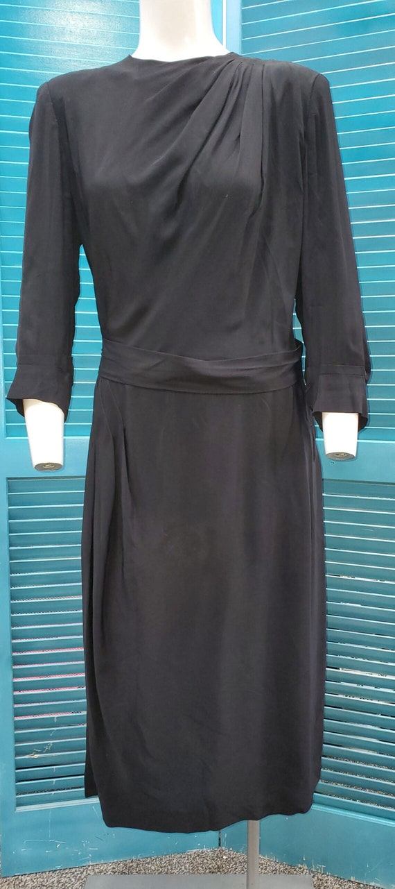 Fabulous 1940's Rayon Little Black Dress