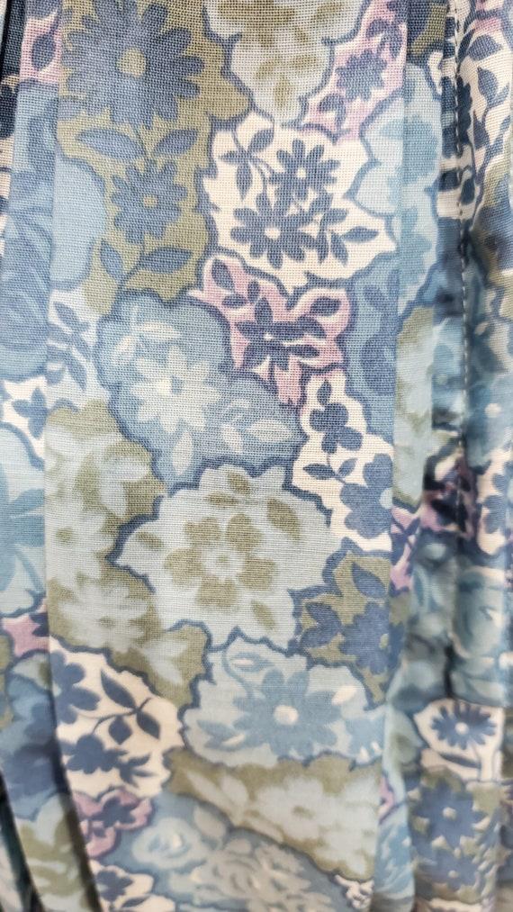 1950's Blue Floral Cotton Day Dress Rockabilly Sw… - image 4