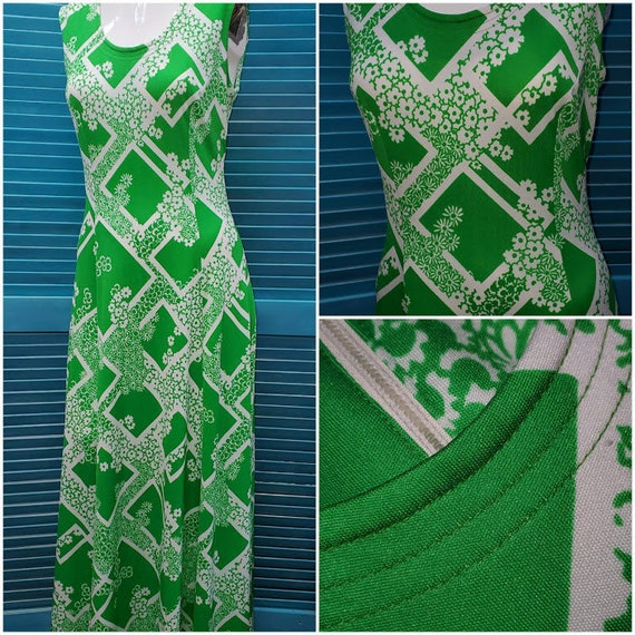 Lovely Vintage 1970's Edith Flagg Green & White Ma