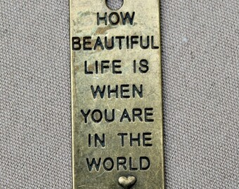 "Brass Rectangular Pendant ""How Beautiful Life Is"""