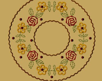 MACHINE EMBROIDERY-Daisy-Rose Candle Mat-5-Inch-Instant Download