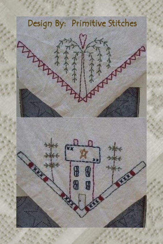 Primitive Candle Mat Woolfelt Saltbox Houses w//willow trees 9/""