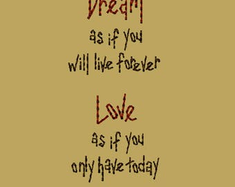 MACHINE EMBROIDERY-Dream-4x4-Saying-Instant Download