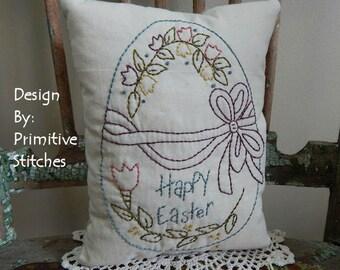 Happy Easter Egg-Primitive Stitchery  E-PATTERN by Primitive Stitches-Instant Download