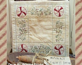 Peppermint Holly Candle Mat--Primitive Candle Mat Stitchery Pattern-E-PATTERN--Instant Download