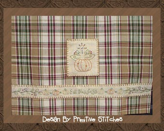 Fall Blessings Mix & Match Hand Towel Collection-Primitive Stitchery PATTERN-Instant Download