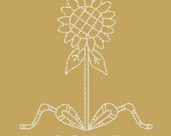 MACHINE EMBROIDERY REDWORK-Block/Corner-Sunflower-4 Inch--4 Piece Set-Instant Download