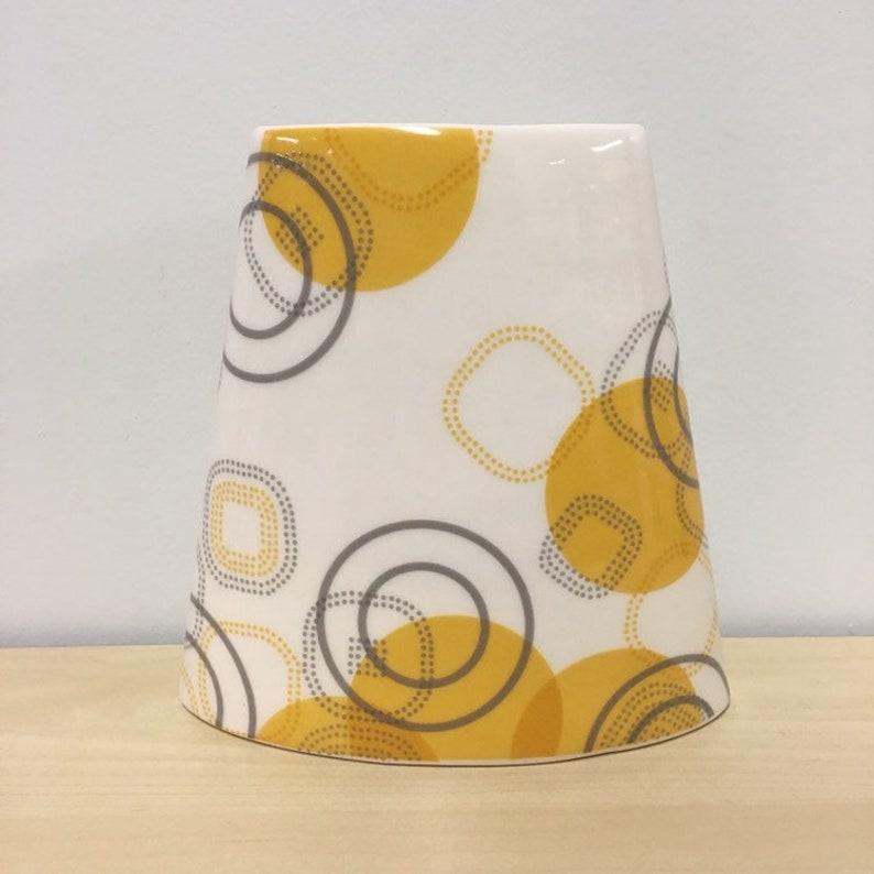 handmade porcelain Oval vase. Floral Print. Meredith Host. image 0