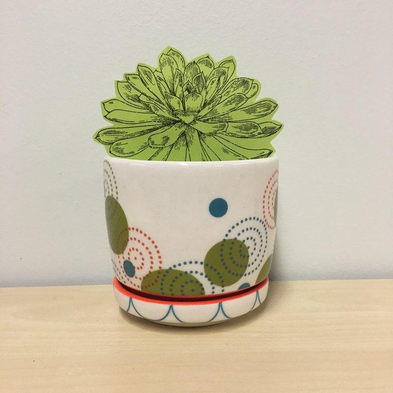 handmade porcelain planter. Meredith Host. Red and orange. image 0