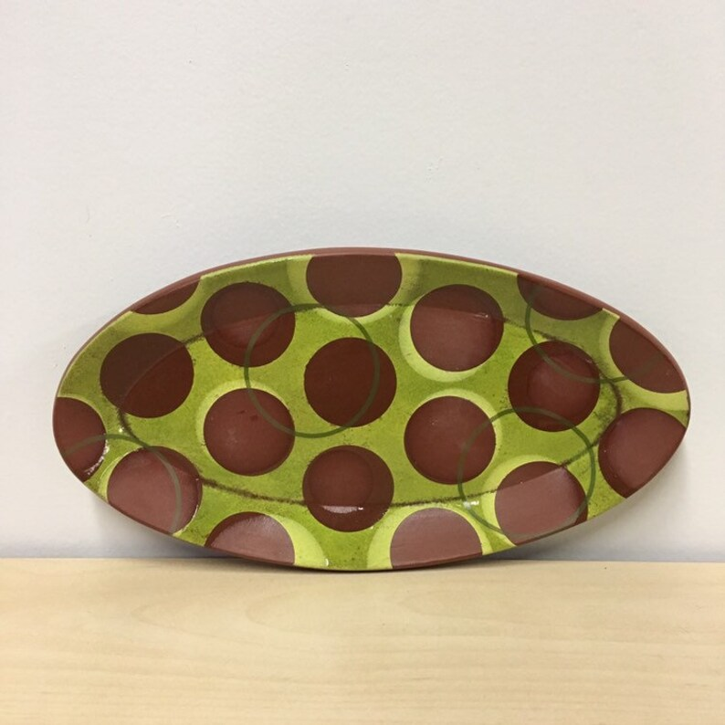 handmade terra cotta oval dish. Meredith Host. mid mod plate. image 0