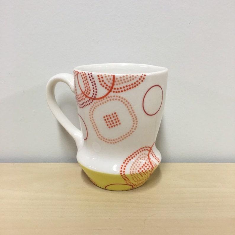 handmade porcelain mug. Meredith Host. Yellow mug. mid mod image 0
