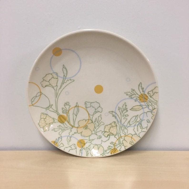 handmade porcelain dinner plate. Dot Floral Print. Meredith image 0