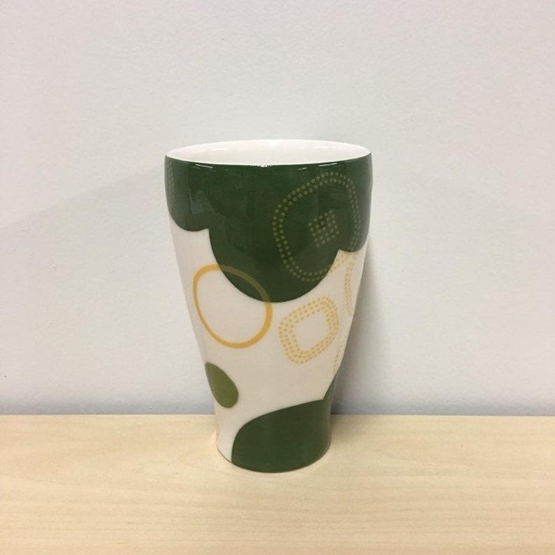 handmade porcelain tumbler. Polka dot cup. Meredith Host. image 0