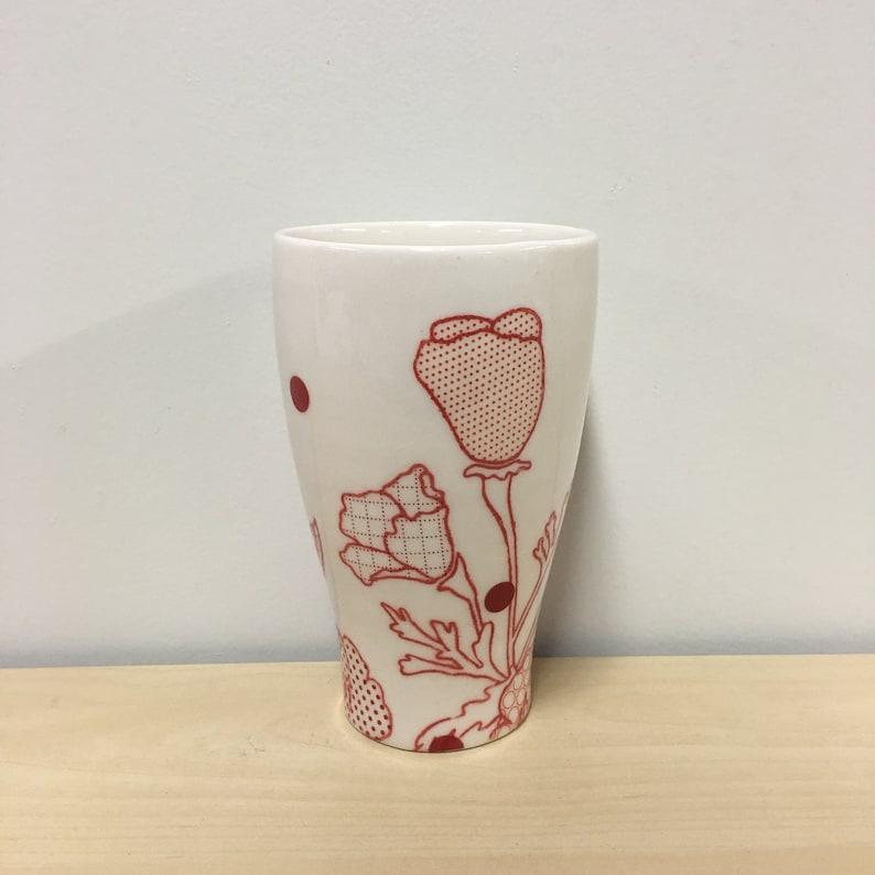 handmade porcelain tumbler. Dot Floral Print. Meredith Host. image 0