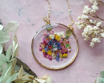 Confetti Mixed Pressed Flower Necklace, Botanical Jewelry, 14k gold fill