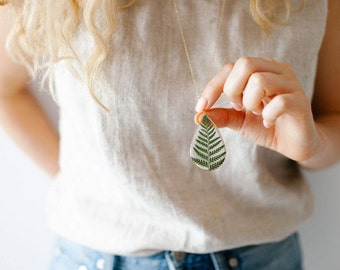 Pressed Fern Necklace Pressed Flower Jewelry Terrarium Necklace Botanical Jewelry 14k Gold Fill Chain