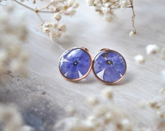 Purple Verbena Stud Earrings Pressed Flower Earrings Botanical Jewelry Bridal Jewelry