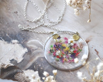 Confetti Mixed Pressed Flower Necklace, Botanical Jewelry, Silver