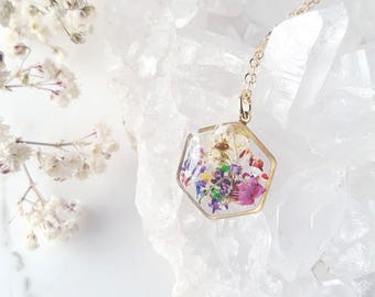 Hexagon Mixed Pressed Flower Necklace, Botanical Jewelry, 14k gold fill