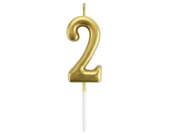 Gold Number Two Birthday Candle 2 Metallic Age